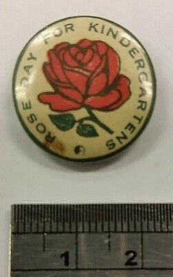 Rose Day for Kindergartens Pin / Badge c1920's