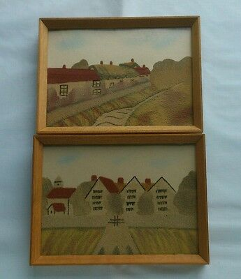 pair small vintage Isle of Wight sand pictures
