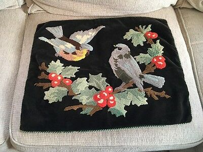 "STUNNING ANTIQUE VELVET ACCENT PILLOW COVER CREWEL WORK BIRDS 22 1/2"" Wide"