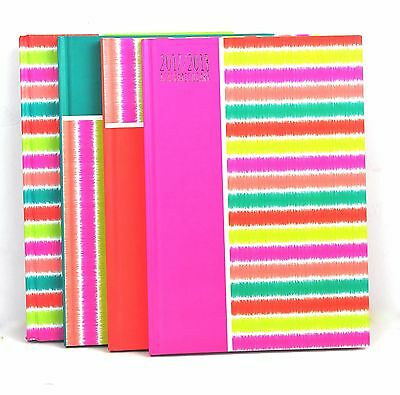 Colourful Stripes Week to View Academic Mid Year Diary 2017-2018 Random Colour