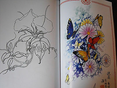 tattoo flash design book a3 flowers & butterfly nice book with lines 60 pages