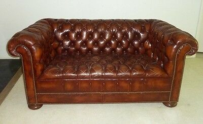 Gorgeous antique cognac soft leather tufted Chesterfield Library Sofa Couch