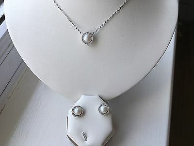 Sterling Silver 925 Freshwater Pearl CZ Halo Necklace/earrings Set Silk Pouch