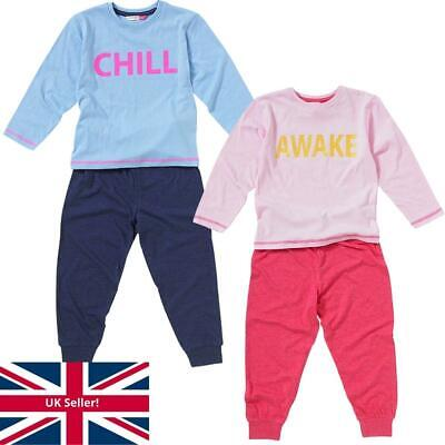 Cozy n Dozy Girls Awake Chill Slogan Glitter Print Cotton Long Sleeve Leg Pyjama