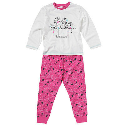 Cozy n Dozy Girls Sweet Dreams Hearts Clouds Cotton Long Sleeve Leg Pyjamas