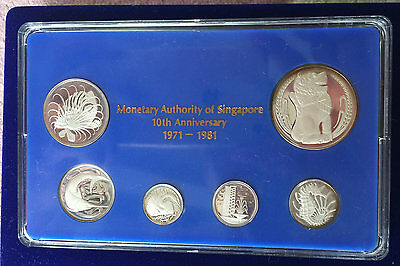 Singapore 1981 Silver Proof Set with box+coa