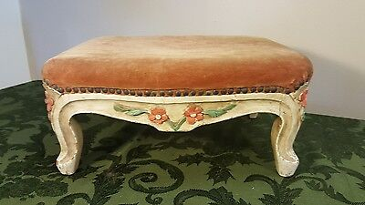 Vintage Hand Carved French Paint Decorated Footstool Petite Velvet Top Cabriolet