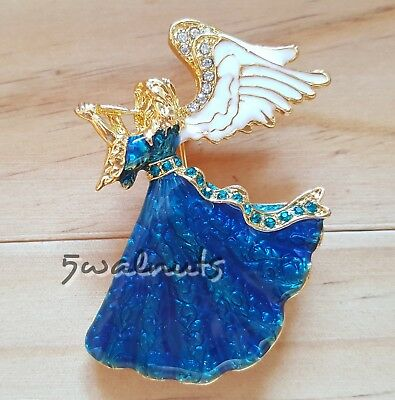 Green BLUE Colourful Gold Retro Rhinestone Diamante Crystal BUTTERFLY Brooch Pin