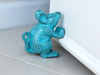 Door Stop Wedge Cast Iron Mouse Antique Design Rustic Blue Home Decor Gift NEW