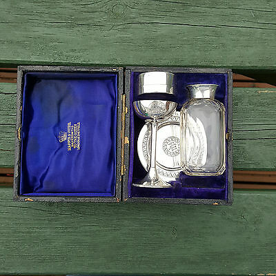 Cased Mappin & Webb 1886 Solid Silver IHS Travelling Communion Set Complete