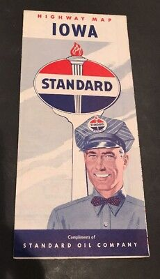 Standard Oil Company Highway Map Iowa 1950 Service Station