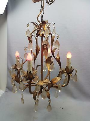 Gorgeous VTG Gilt Italian Tole Hanging 4 light Lamp Fixture Chandelier w Prisms