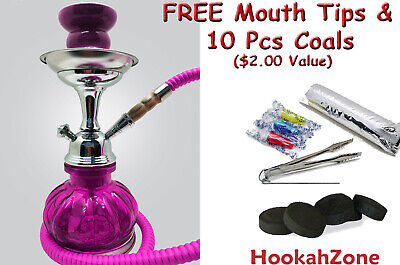 "2 Hose 10"" Tall Pink Hookah Pumpkin Shisha Smoking Pipe Coal Small Mini Nargila"