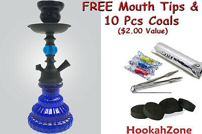 "2 Hose 10"" Tall Black Hookah Pumpkin Shisha Smoking Pipe Coal Small Mini Nargila"