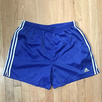 Adidas Vintage Soccer Shorts Large Blue Satin 90s Silky Baggies