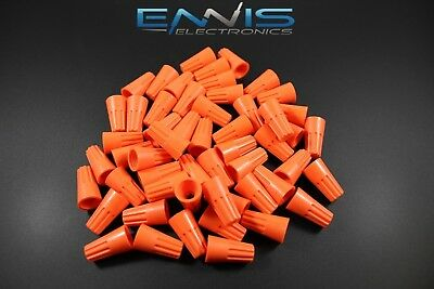 100 Pk Wire Twist Cap 22/14 Gauge Terminal Connector Splice Awg Orange Wnor