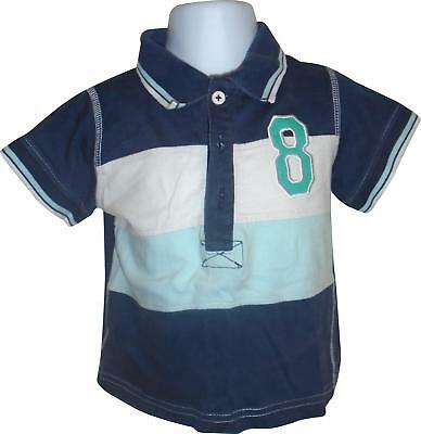 USED Boys Rebel Navy And white 8 Decal Polo Top Size 18-24 Months (E.W)