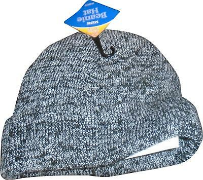 NEW Mens Warm&Cosy Grey And Black Mix Beanie Hat One Size (E.W)