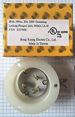 Nema L6-20 Flanged Inlet, 2 Pole, 3 Wire, 20A, 250V Grounding Locking Inlet