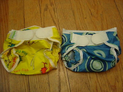 Bumkins Lot of 2  Cloth Diaper Covers Dr Suess and Blue Circles