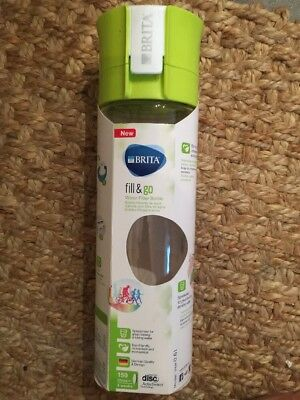 Brita Fill and Go Vital Portable Charcoal Filtered Water Bottle 0.6L GreenDesign
