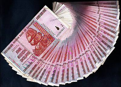 25 x 5 Billion Dollars Zimbabwe Banknotes AA AB 2008 Bundle Currency Paper Money