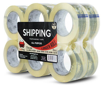 """Red Frog 12 Rolls 2.5 mil 1.88"""" x 110 yd Clear, Low Noise Packaging Packing Tape"""