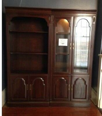 Ethan Allen solid wood Cherry Georgian Court Bookcase and light-up curio cabinet