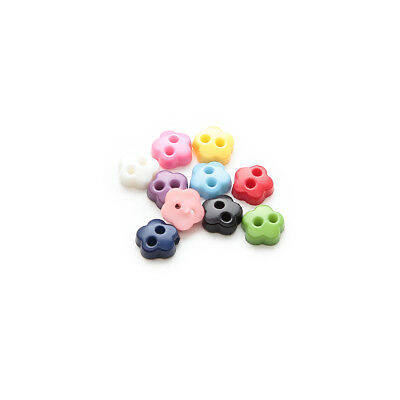 100pcs Multicolor 2 hole Flower Resin buttons Sewing Scrapbooking Decor 6mm