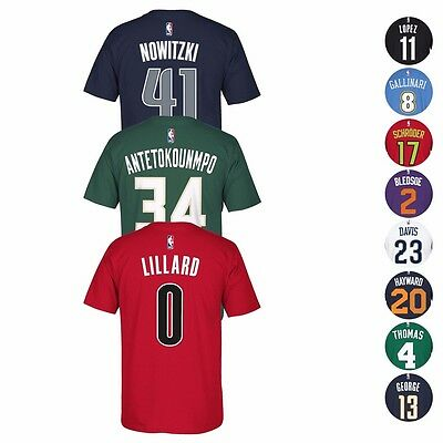 2016-17 NBA Adidas Official Player Name & Number Jersey T-Shirt Collection Men's