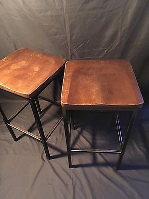 Two Antique Vintage Mahogany Wooden Lab Stools Industrial Salvaged