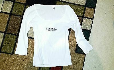 Used Jameson Ladies Promotional Liquor Logo 3/4 sleeve t-shirt White *Size Med*