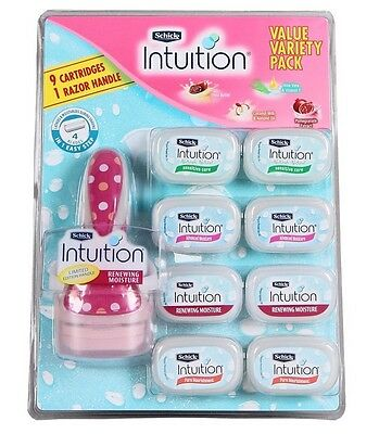 Schick Intuition Value Variety Pack 1 Razor Handle + 9 Cartridges  Women's Shave