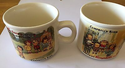 Lot of 2 Campbell's Kids soup mugs, 1994 Westwood, kids in kitchen & schoolyard • $1.99