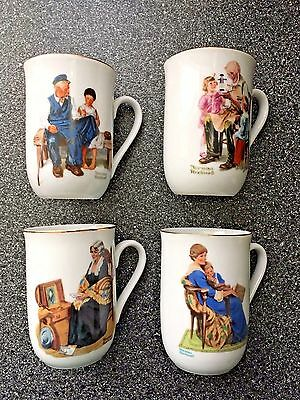 Set Of 4 Classic Norman Rockwell Museum Porcelain Coffee Tea Mugs Cups