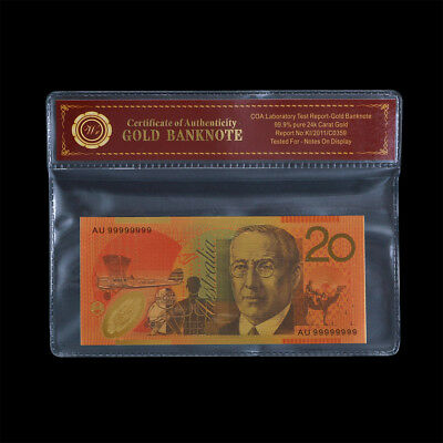 WR Australian $20 24K Gold Note Polymer Dollar Limited Colour Birthday Gift Idea