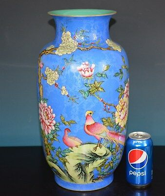 Stunning Large Antique Chinese Famille Rose Porcelain Vase Marked Qianlong A5537