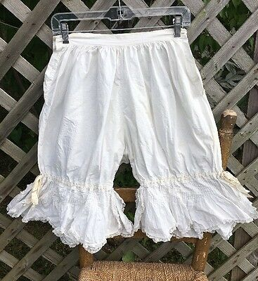 Antique Fancy Ladies Undergarments Bloomers Drawers Ribbon Lace Cotton