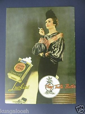 1935 Lucky Strike Cigarettes Photo Ad,woman In A Daze