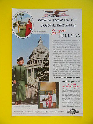 1938 This Is Your Own - Your Native Land ~ See It Via Pullman ~ Train Travel Ad