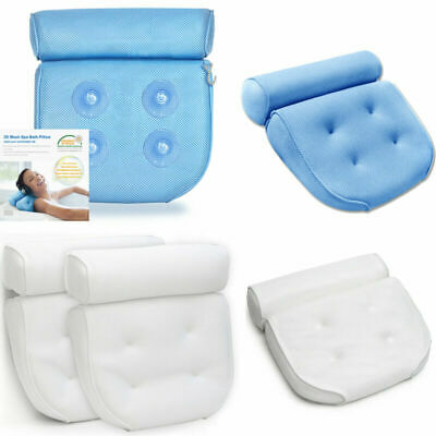 Breathable 3D Mesh Spa Bath Pillow with 4 Suction Cups, Neck & Back Support - Ho