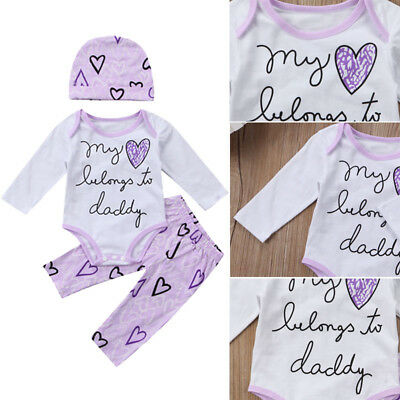 Newborn Infant Baby Girls Casual Long Sleeve Romper Pants Outfits Set Clothes US