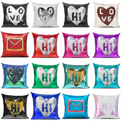 """16"""" Reversible Sequin Mermaid Pillow Case Magicl Cushion Cover Double Color DIY"""