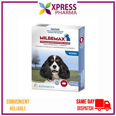 Milbemax Allwormer for Small Dogs 0.5 to 5 kg intestinal wormer NEW STOCK XPRESS