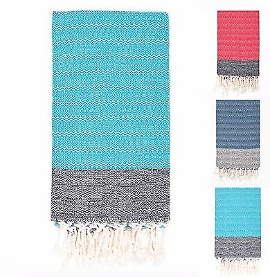 Premium Denim Blue /& Mint Loopys Cotton Turkish Towel Beach Pool Bath Peshtemal