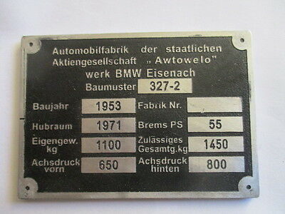 Nameplate BMW 2002 1410 kg Sign Plate Id S22 Day