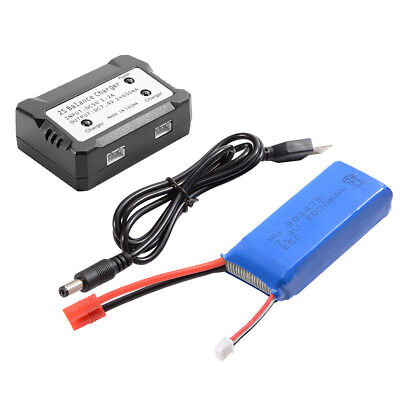 2000mAh 7.4V 25C LiPo Battery+2S Balance Charger+USB Cable for Syma X8HG Drone
