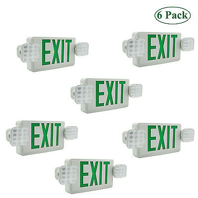 LED Exit Sign & Emergency Lighting Green Compact Combo UL 924  Dual/Single Face