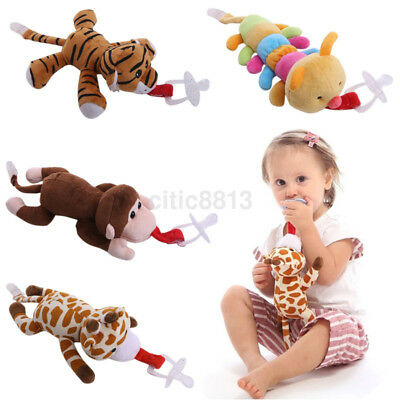 Baby Boy Girl Dummy Pacifier Clip Chain Plush Animal Toy Soother Nipple Holder K