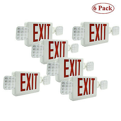 LED Exit Sign & Emergency Lighting Red Compact Combo UL 924  Dual/Single Face